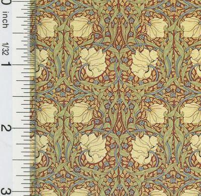 Dollhouse Wallpaper Victorian Tulips Brown