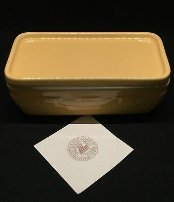 Longaberger Pottery 4 X 8 Lidded Dish~Woven Traditions~Butternut~NEW