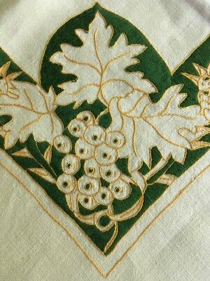 "Antique Arts And Crafts Art Nouveau Embroidered 40"" Square Linen Tablecloth Vtg"