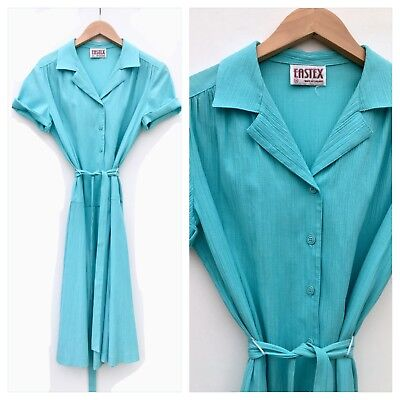 Vintage 70s 80s Blue Turquoise Polycotton Crinkle Tea Belted Shirt Dress 10 12 M