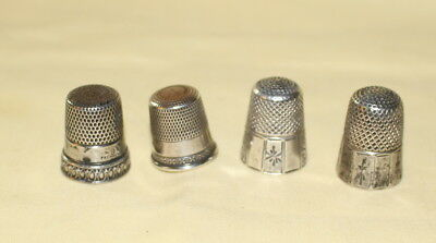 Antique Sterling Silver Stamped Thimbles (4) Sizes 8 and 9