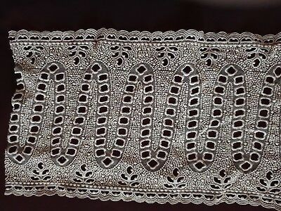 """Unusual Edwardian Lace Insertion 22 1/2"""" By 7 1/2"""" - Needle Work On Tulle"""