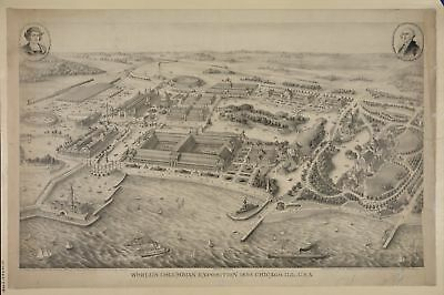 A4 Reprint of Old Maps 1893 World'S Columbian Exposition