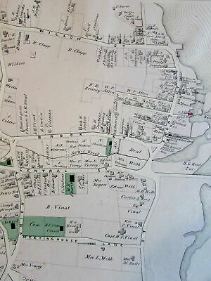 Scituate harbor Massachusetts 1879 detailed village map home owner names & lots
