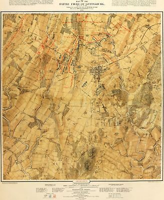 A4 Reprint of Map 1876 Battlefield at Gettysburg 1863 1876
