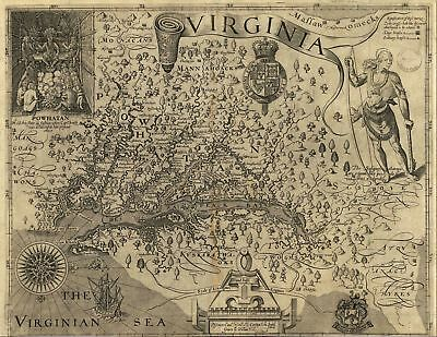 A4 Reprint of Old Maps 1606 Map Reprint Virginia