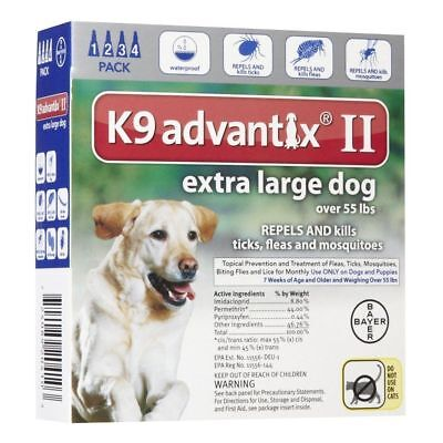 New Box Of Advantix Ii For  Dogs Over 55 Lbs 4 Doses Free Shipping