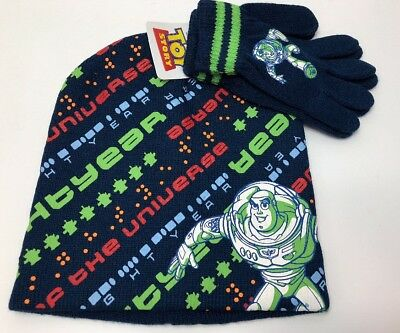 Disney Toy Story Buzz Lightyear Little Boys Beanie Hat and Gloves New