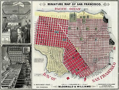 A4 Reprint of Map 1879 Miniature San Francisco Macdonald Williams