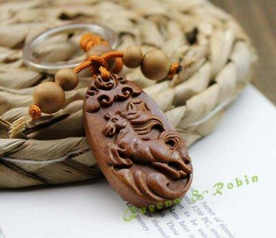 Wood Carving Chinese Zodiac Horse Animal Statue Sculpture Pendant Key Chain