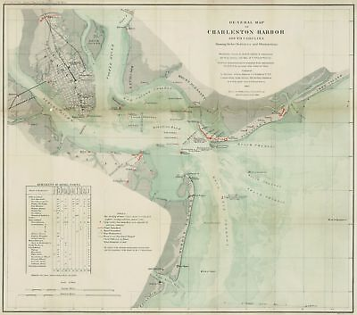 A4 Reprint of Map 1865 Charleston Harbor South Carolina Rebel Defences