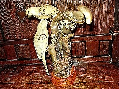 Hand Carved Buffalo Horn-Made In Thailand- Birds-On Stand