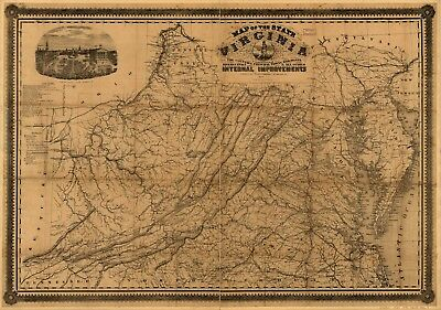 A4 Reprint of American Cities Towns States Map Virginia