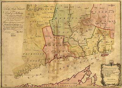 A4 Reprint of Old Maps 1766 Map Conneticut