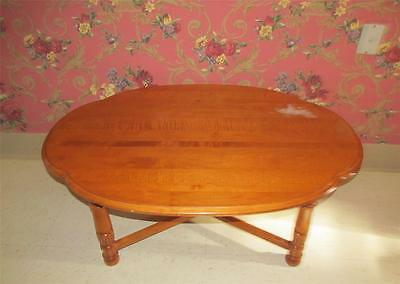 Tell City Hard Rock Maple Oval Cocktail Coffee Table with Cosmetic Issues