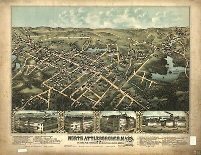 A4 Reprint of American Cities Towns States Map North Attleborough Mass