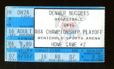 1976 Denver Nuggets v Kentucky Colonels ABA Playoff Ticket 4/17 McNichols Arena