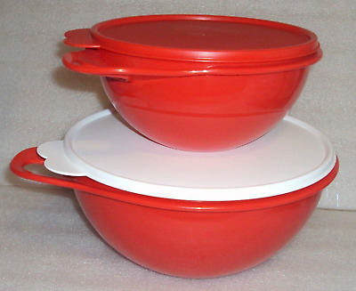 Two New Tupperware Thatsa Bowls Mixing Set ~ 12-cup ~ 6-cup ~ Chili Red New