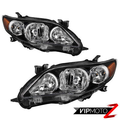 """Black """"Factory Style"""" Headlights Lamps Replacement SET 2011-2013 Toyota Corolla"""
