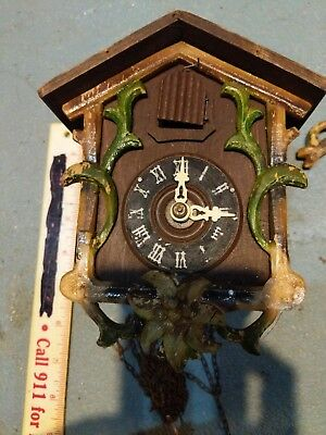 Antique Black Forest Cuckoo Clock with Edelweiss Flower Trim