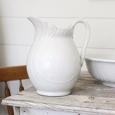 Shapely Antique Vintage White Ironstone Water Pitcher Embossed China Stoneware
