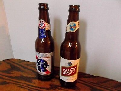 Vintage 1970 Schlitz & Pabst Blue Ribbon Collector Empty Beer Bottles