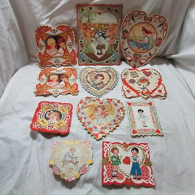 Vintage Lot of 11 Whitney Made Valentine's Day Greeting Cards, Ephemera