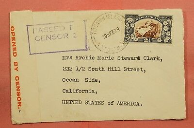 1939 New Zealand Used In Pitcairn Island To Usa Wwii Censored