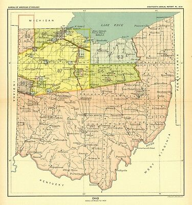 1896 map Ohio United States Indian land cessions POSTER 49