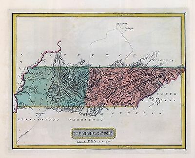 1816 LUCAS ATLAS MAP POSTER genealogy family history TENNESSEE 26