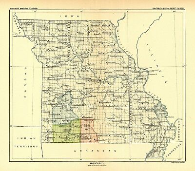 1896 map Missouri 2 United States Indian land cessions POSTER 38