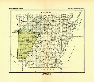 1896 map Arkansas 2 United States Indian land cessions POSTER 6