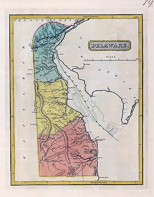 1816 LUCAS ATLAS MAP POSTER genealogy family history DELAWARE 19