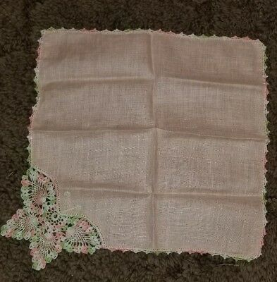 Beautiful Ladies Handkerchief White with Pink Crotcheted Butterfly and Edging