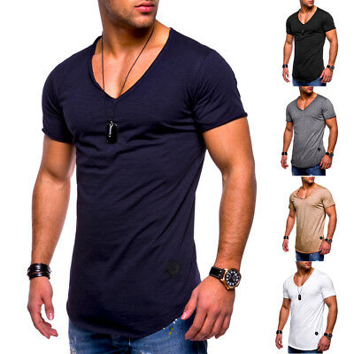 Hot Men's Slim V Neck Short Sleeve Muscle Tee T-shirt Casual Fit Tops Blouse
