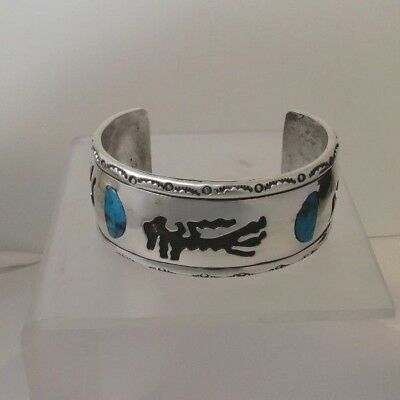 Vintage Inlaid Turquoise Cuff Sterling Hand Crafted