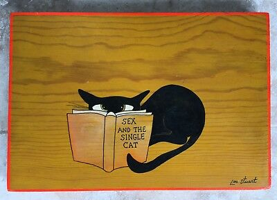 "Lou Stuart Wood ""Sex And The Single Cat"" Vintage Drawing Sketch Signed Painting"