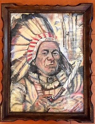 """Chief Sitting Bull"" 1960's Original Watercolor Art 11"" x 14"" Signed By Artist"