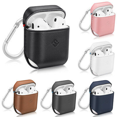 For Apple AirPods Earphone Case Genuine Leather Cover Skin with Carabiner