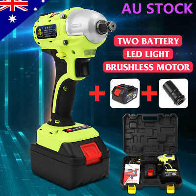 36V Cordless Electric Impact Wrench 1/2'' Brushless High Torque Tool +2x Battery