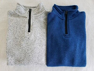 Lot Of 2 Boys Old Navy 3/4 zip sweater shirt top blue Gray Size small 6-7 6 7