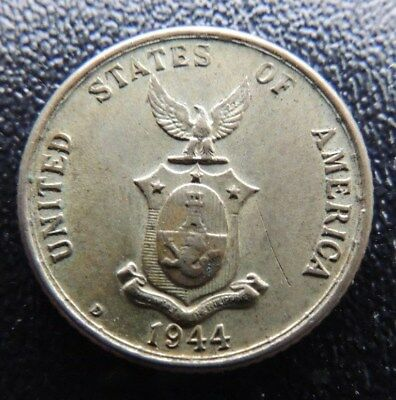 PHILLIPPINES     1944-D      .750  SILVER       20 Centavos     AU       KM-182