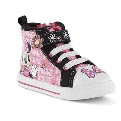 Girls Minnie Mouse Baby Toddler Sneakers Size 6 7 8 9 10 11 or 12 Soft Toe High