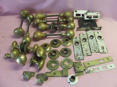 Quantity of old brass door handles, plates etc Early 20th century