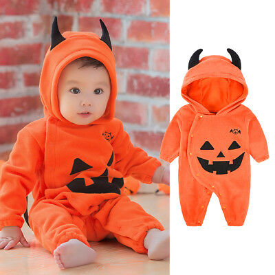 Cute Baby Halloween Pumpkin Fancy Costume Outfit Clothes Boy Girl Jumpsuit UK