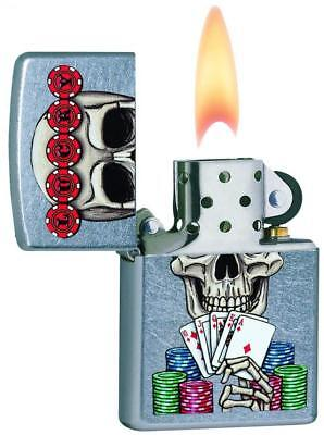 Zippo Unisex Lucky Skull Regular Windproof Lighter, Street Chrome, One Size