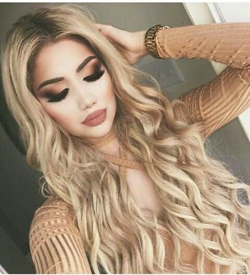 Fashion Long Curly Hair Full Wig Heat Resistant Synthetic Hair Blonde Wigs Ombre