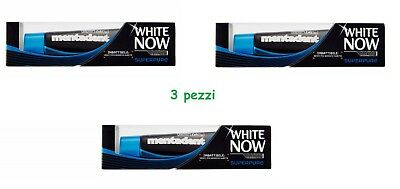 3 x DENTIFRICIO DENTI BIANCHI MENTADENT WHITE NOW MEN SUPERPURE PER UOMO
