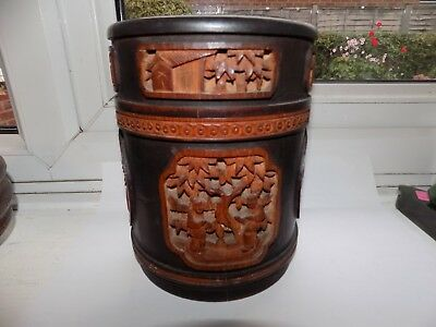 HAND CARVED VINTAGE CHINESE BAMBOO LIDDED JAR 16.5 cm TALL