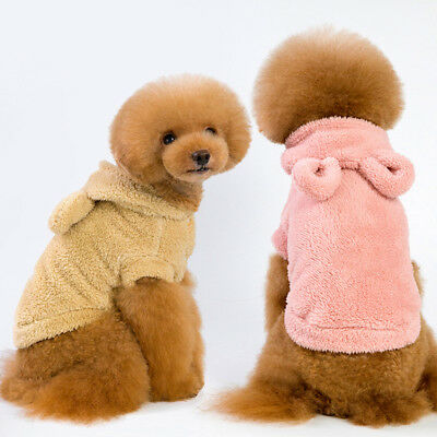 Warm Soft Small Pet Dog Puppy Hooded Coat Costume Solid Clothes Breathable